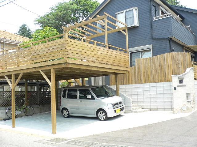 千葉県千葉市の車庫上・ガレージウッドデッキ施工例