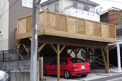 神奈川県横浜市青葉区の車庫上・ガレージウッドデッキ施工例