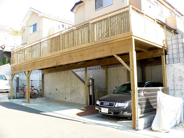 千葉県習志野市の車庫上・ガレージウッドデッキ施工例