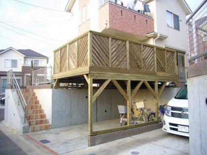 奈川県横浜市緑区の車庫上・ガレージウッドデッキ施工例
