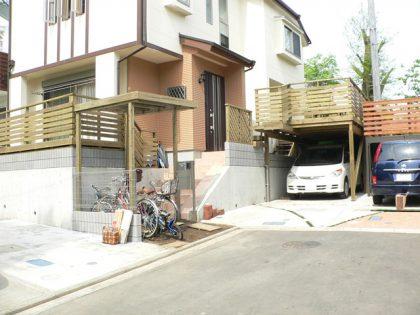 東京都小金井市の車庫上・ガレージウッドデッキ施工例