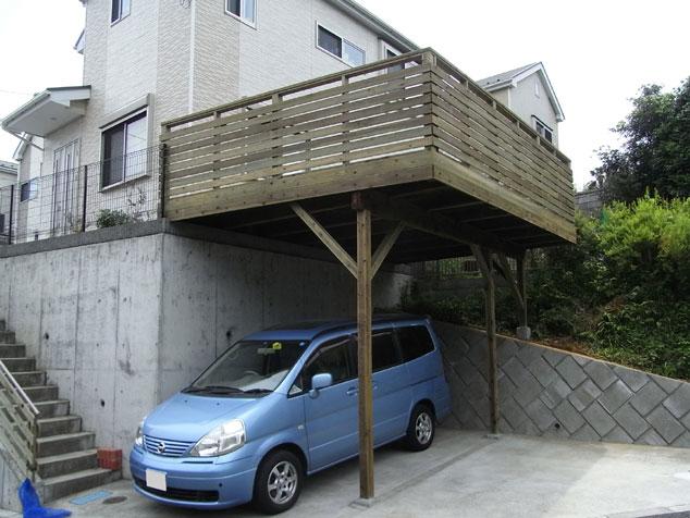 神奈川県横浜市泉区の車庫上・ガレージウッドデッキ施工例