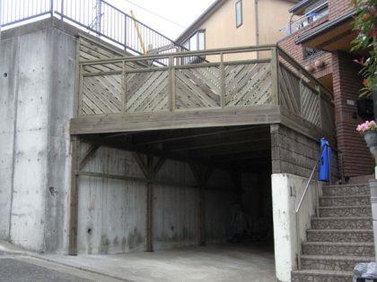 神奈川県横浜市港北区の車庫上・ガレージウッドデッキ施工例