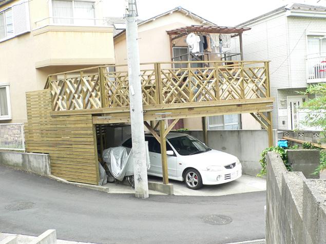 千葉県松戸市の車庫上・ガレージウッドデッキ施工例