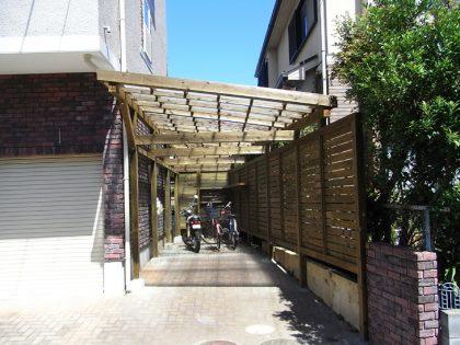 神奈川県藤沢市の車庫上・ガレージウッドデッキ施工例