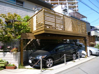 千葉県船橋市の車庫上・ガレージウッドデッキ施工例
