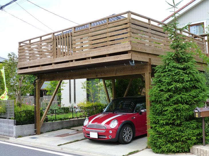 千葉県印西市の車庫上・ガレージウッドデッキ施工例