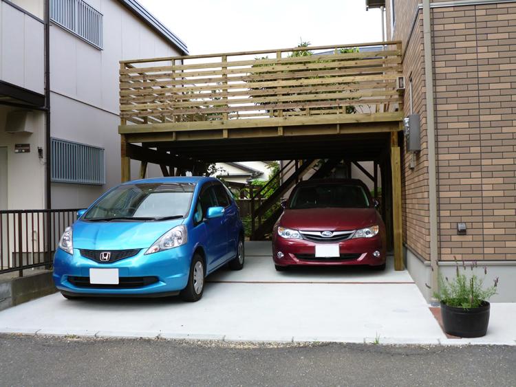 千葉県千葉市美浜区の車庫上・ガレージウッドデッキ施工例