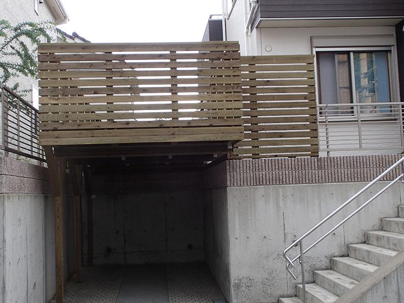 東京都町田市の車庫上・ガレージウッドデッキ施工例