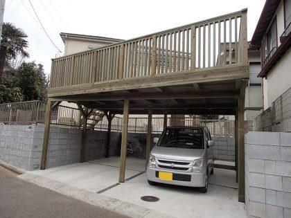 千葉県市川市の車庫上・ガレージウッドデッキ施工例