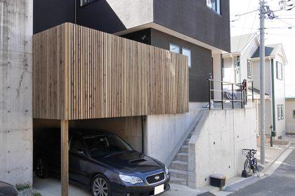 神奈川県横浜市南区の車庫上・ガレージウッドデッキ施工例