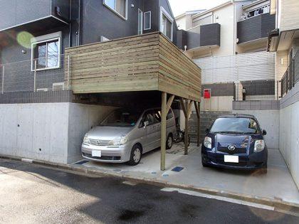 神奈川県横浜市旭区の車庫上・ガレージウッドデッキ施工例