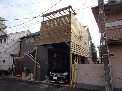東京都調布市の車庫上・ガレージウッドデッキ施工例