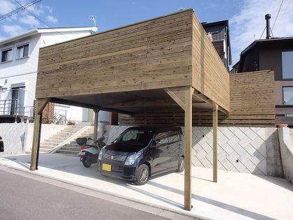 神奈川県秦野市の車庫上・ガレージウッドデッキ施工例3