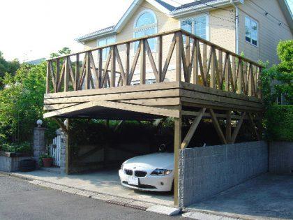 神奈川県三浦郡葉山町の車庫上・ガレージウッドデッキ施工例