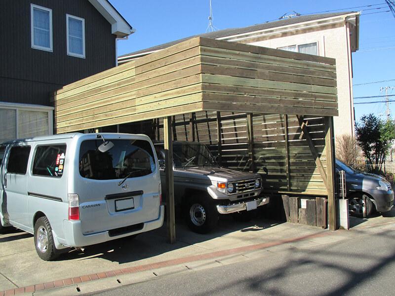 木製カーポート ウッドデッキ施工例