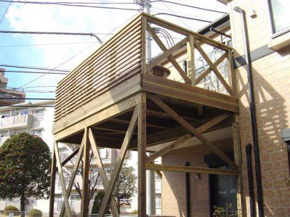 ウッドデッキ施工例 大和市 バルコニーウッドデッキno3-20a