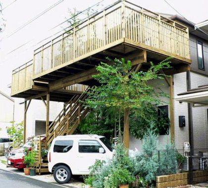 千葉県千葉市緑区の傾斜地・ハイデッキウッドデッキ施工例