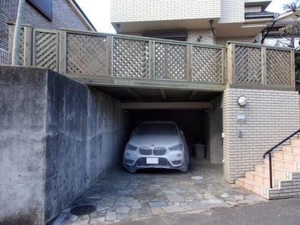 神奈川県藤沢市車庫上ウッドデッキ施工