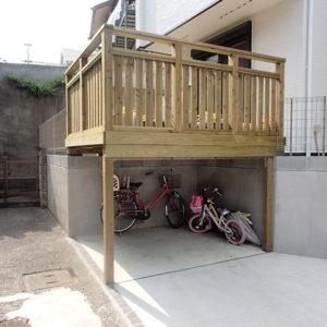 東京都練馬区 自転車置き場ウッドデッキ