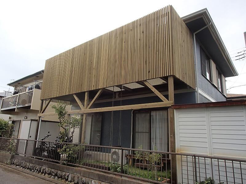 神奈川県茅ヶ崎市 バルコニーウッドデッキ施工