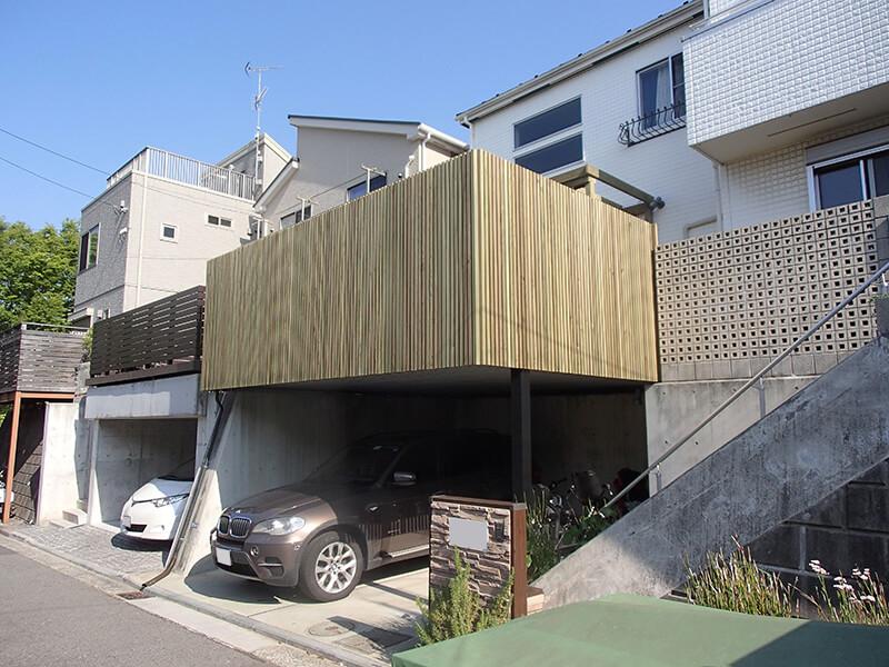 神奈川県横浜市都筑区の車庫上・ガレージウッドデッキ施工例