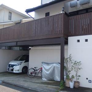 横浜市金沢区の鉄骨併用ウッドデッキ施工