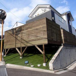川崎市麻生区 傾斜地ウッドデッキ施工