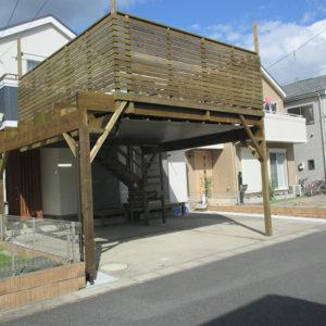 千葉県松戸市 車庫上ウッドデッキ施工