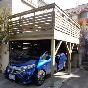 横浜市旭区の車庫上ウッドデッキ施工