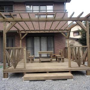 東京都西多摩郡 庭ウッドデッキ施工